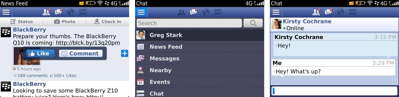 Facebook 4 para BlackBerry