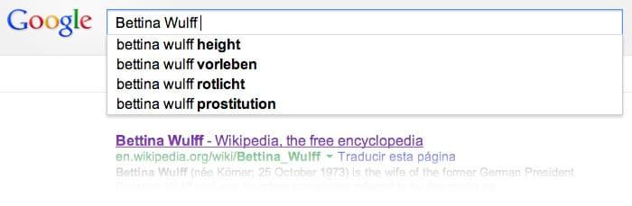 Bettina Wulff y Google