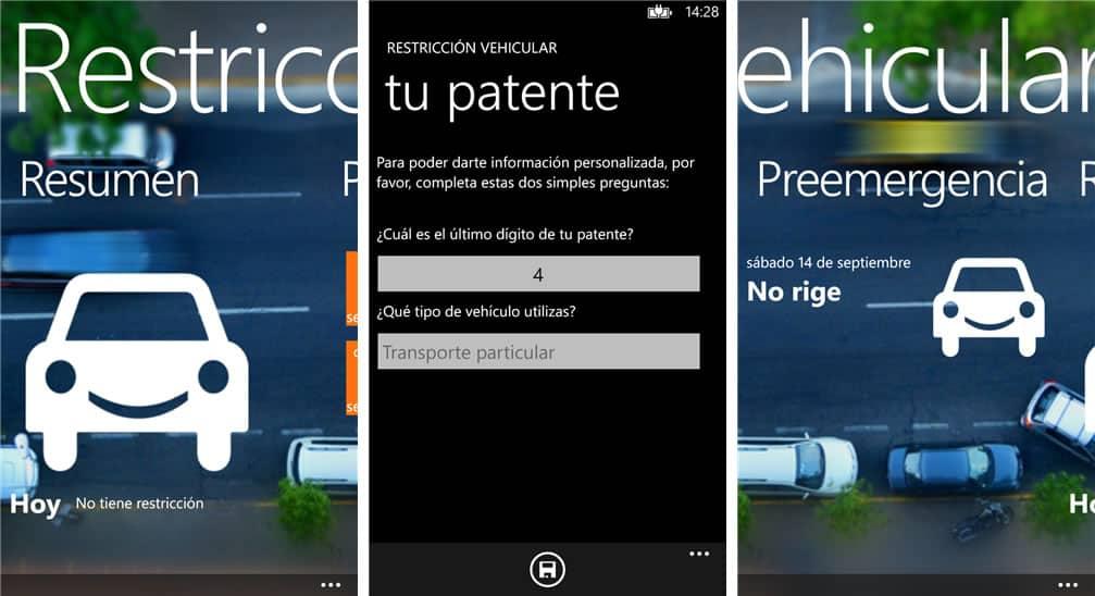 Restriccion vehicular WP App