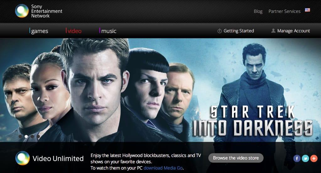 Web de Sony Video Unlimited.