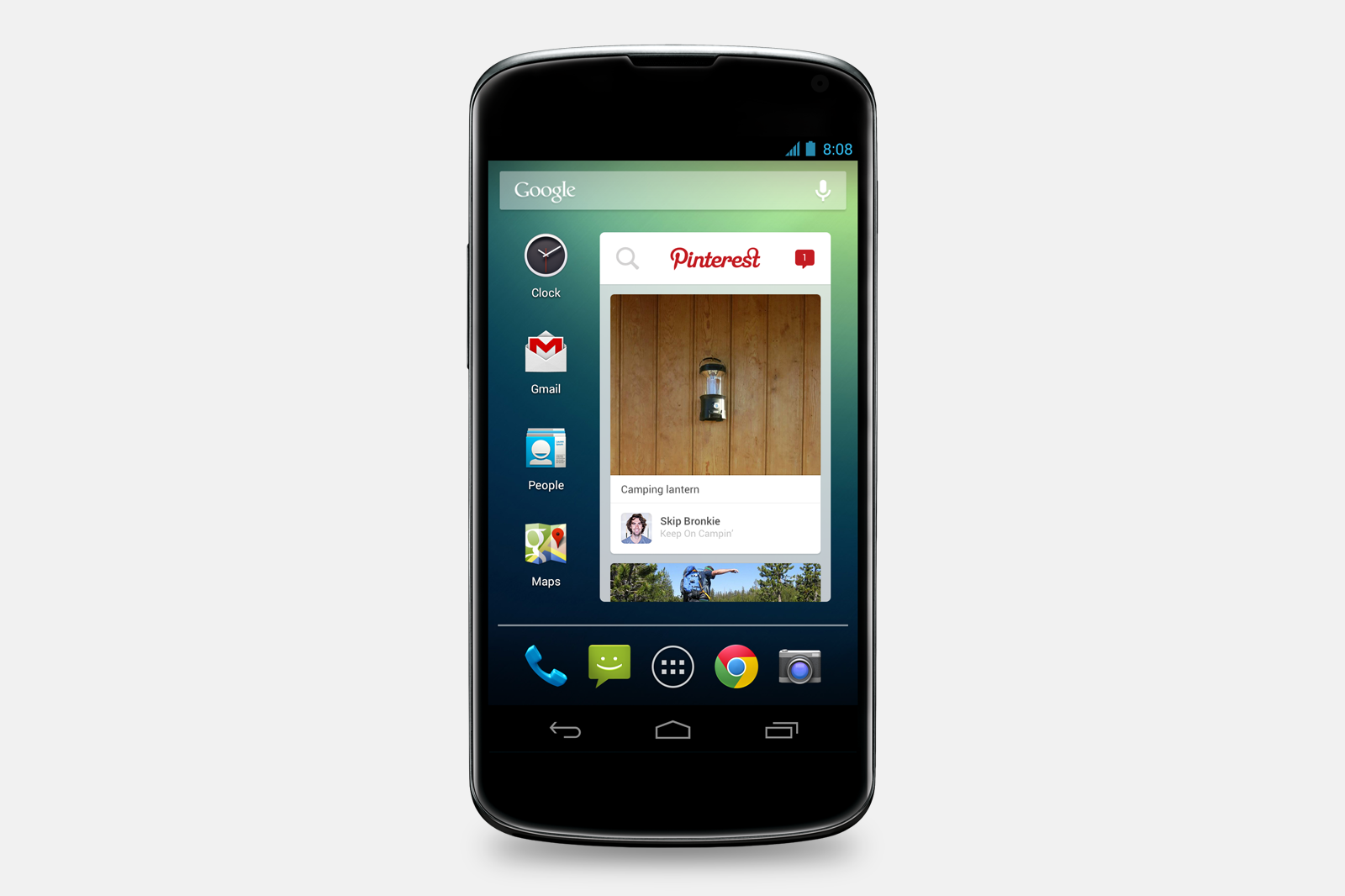 Widget de Pinterest en Android.