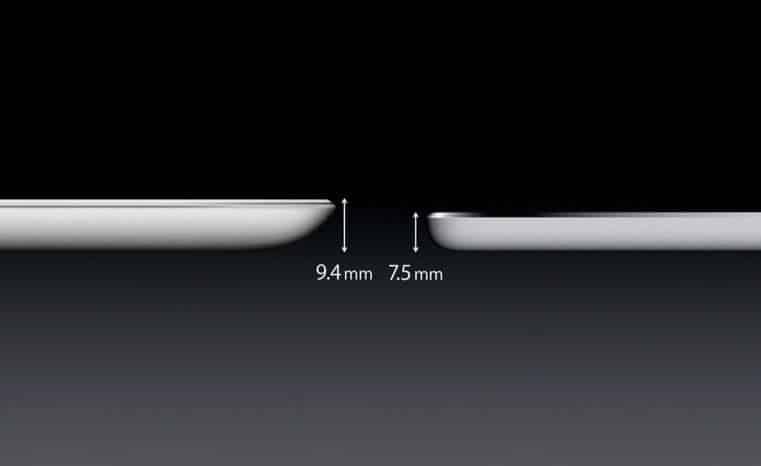 El iPad Air es más delgado.
