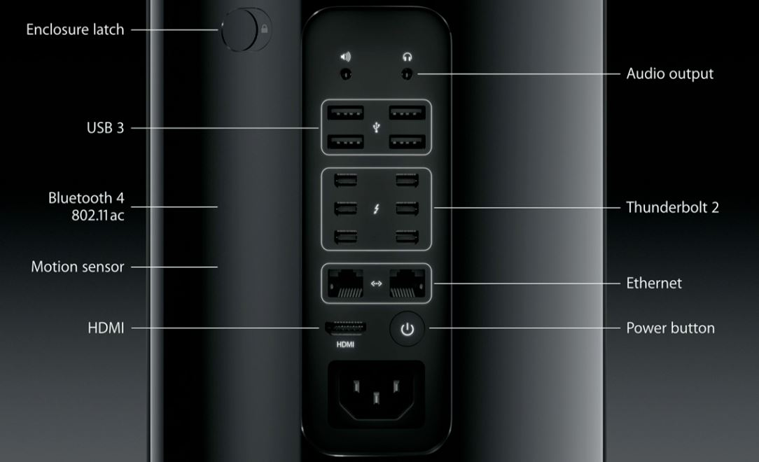 Estos son los puertos de la nueva Mac Pro.