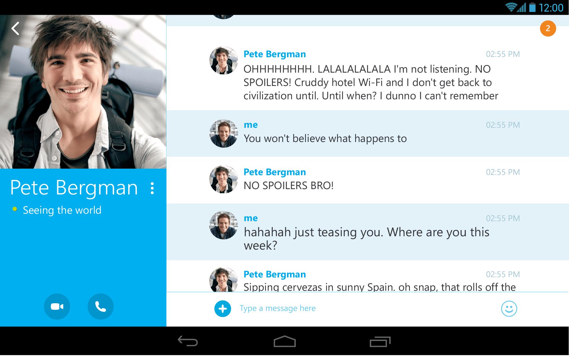 Nueva interfaz de Skype para tablets.