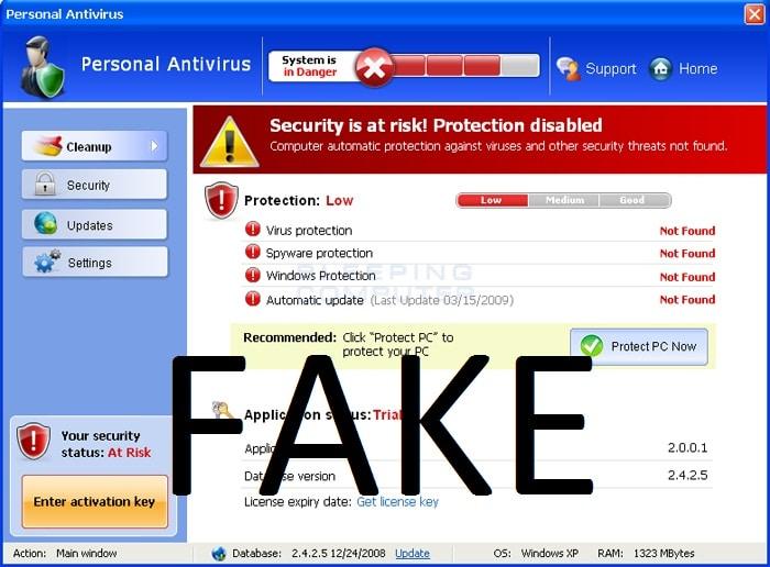 Ransomware, como Nymaim, puede venir en forma de un falso anti-virus.