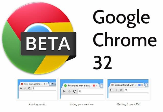 Chrome 32 Beta tiene iconos para indicar cuando una pestaña reproduce sonidos, usando webcam o transmitiendo a un televisor.