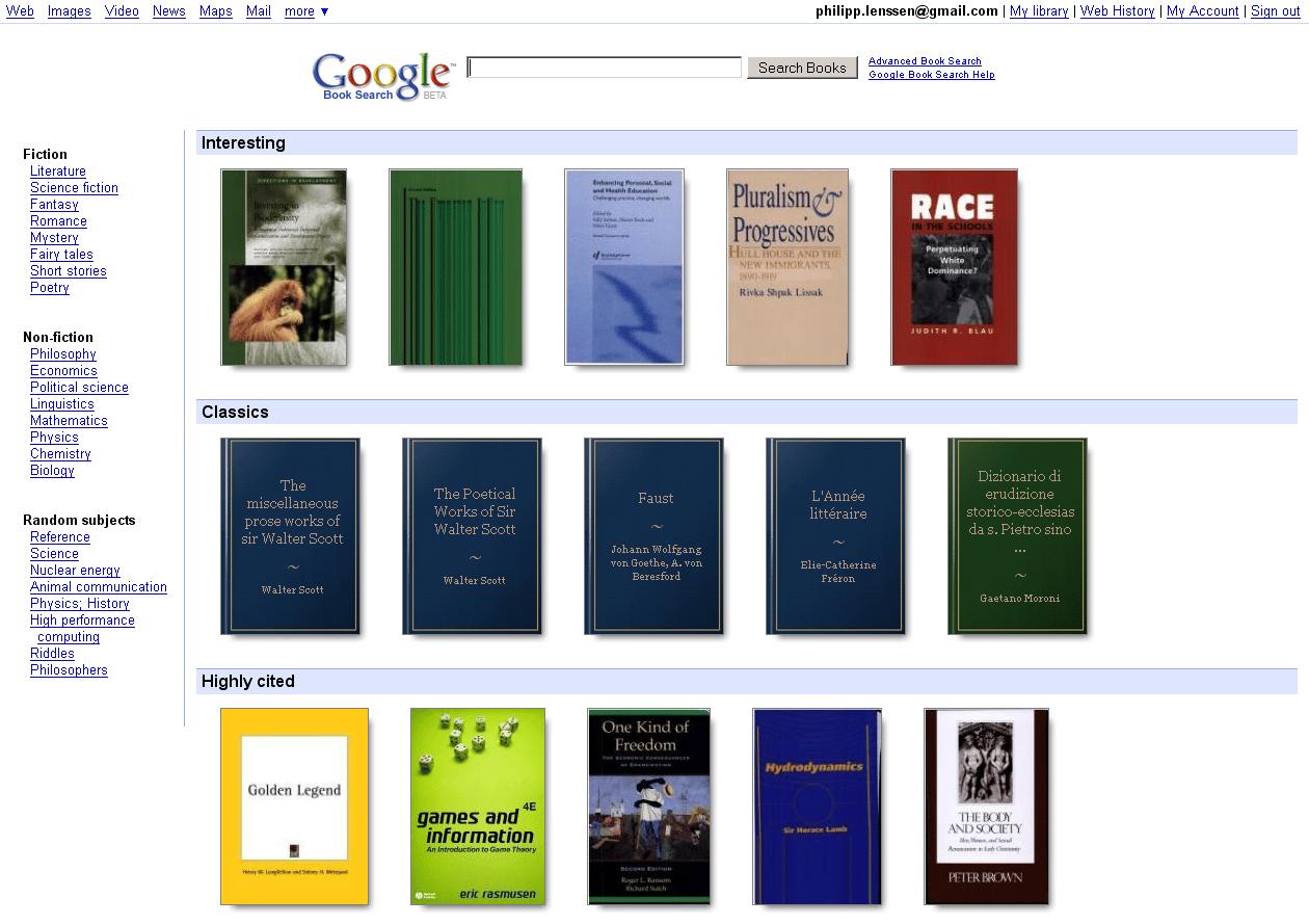 Google Books es una biblioteca online que funciona desde 2004 y ha recopilado millones de libros.