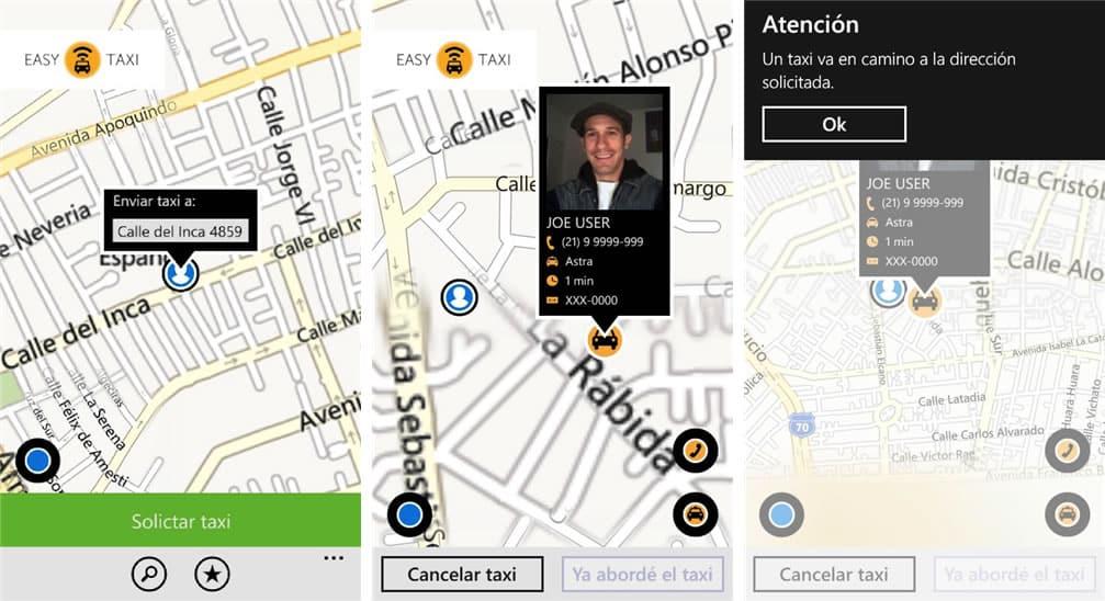 Así luce Easy Taxi en un dispositivo con Windows Phone de Microsoft.