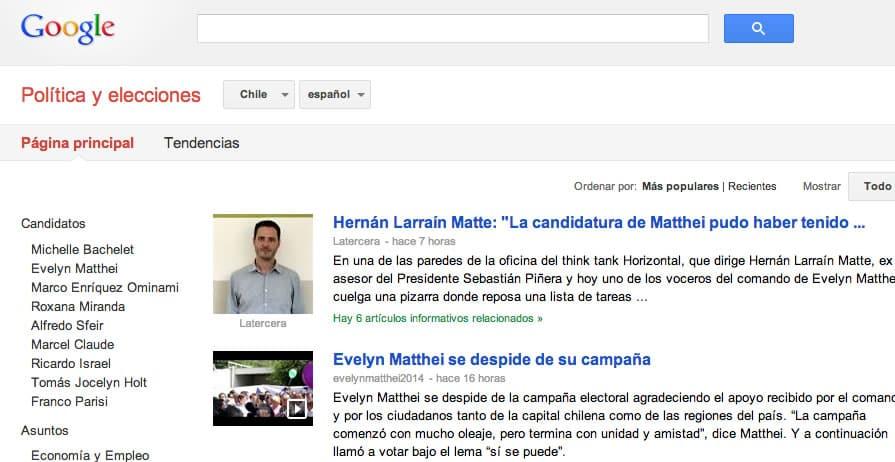 En el portal especial de Google no sólo estará el mapa, también noticias de ambas candidatas.