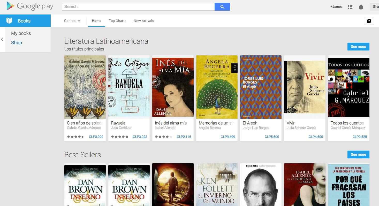 Así luce la parrilla de libros en Google Play (Web)