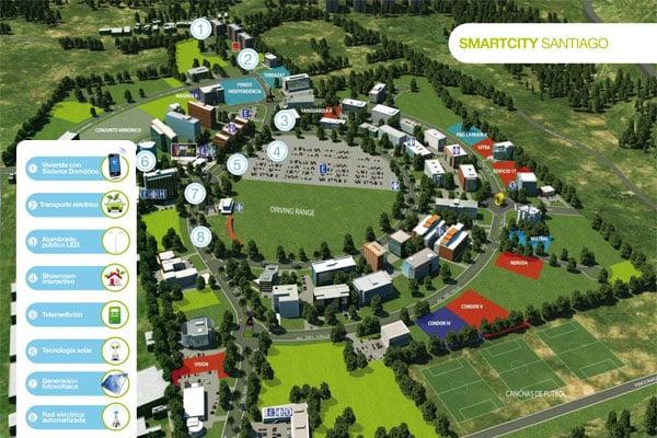 Esta maqueta virtual de Smartcity Santiago muestra el área cubierta con Wi-Fi.