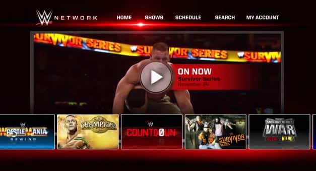 Así sería una parte de la interfaz de usuario de WWE Network.