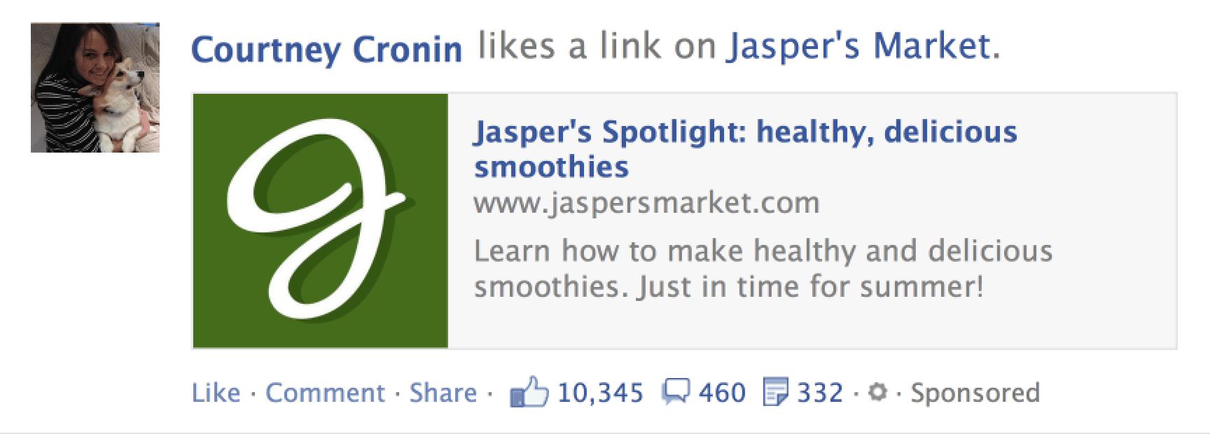 Las historias patrocinadas de Facebook recomendaban al usuario seguir a una página a la cual un amigo se había suscrito.