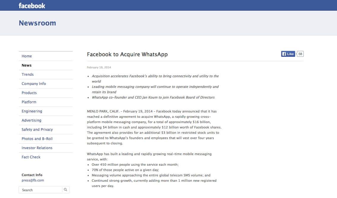 Los detalles comerciales de la compra de WhatsApp fueron inmediatamente entregados por Facebook.