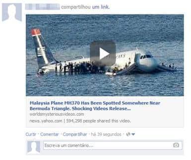 Así luce en Facebook el falso video del avión de  Malaysian Airlines desaparecido.
