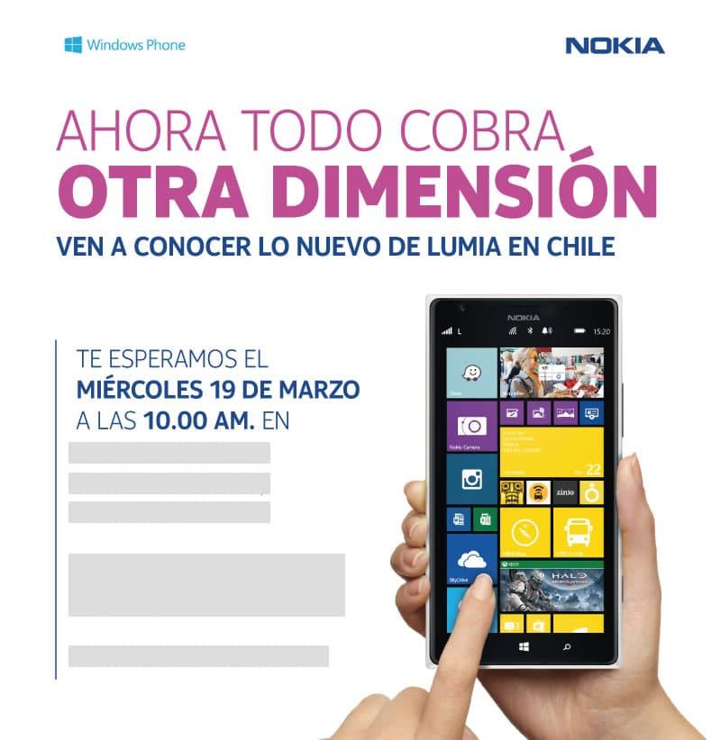 Así luce la invitación de prensa para saber la oferta comercial del Lumia 1520 en Chile.