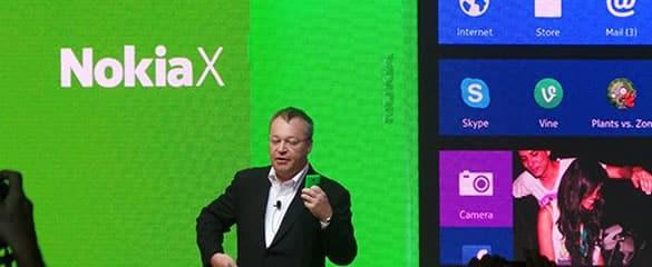 Nokia X presentado por Stephen Elop en la pasada MWC 2014 de Barcelona.