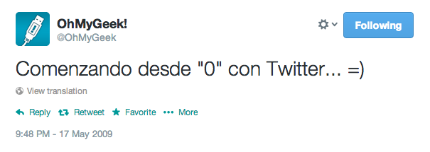 Primer tweet ohmygeek #FirstTweet