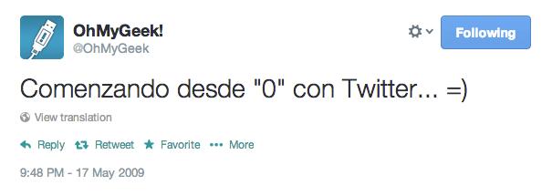 Primer tweet ohmygeek #FirstTweet