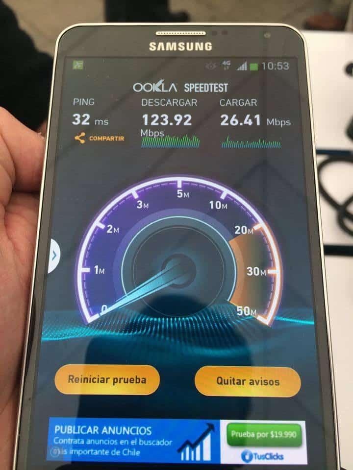 Test de velocidad 4G LTE de Entel
