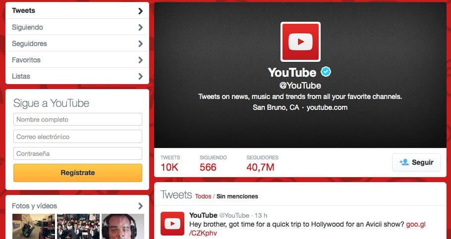 YouTube es una de las empresas más seguidas en Twitter.