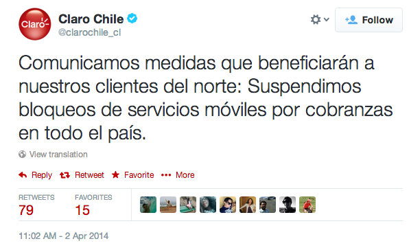 Claro Chile Terremoto Arica Iquique