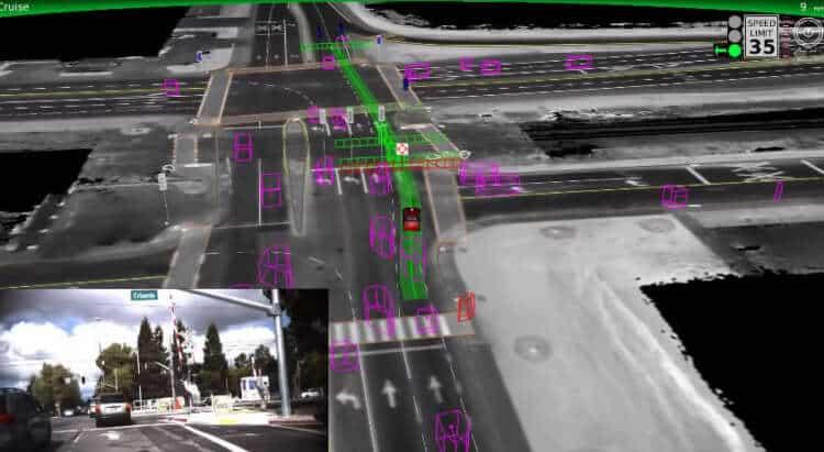 El nuevo software del vehículo de Google reconoce múltiples objetos por la ruta.