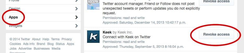 Twitter remover acceso aplicación.