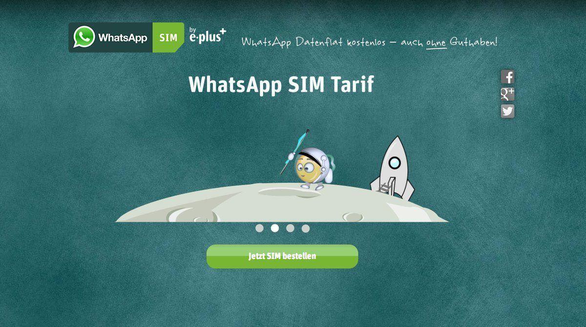 WhatsApp con la colaboración de e-Plus ofrece tarjetas con datos móviles.