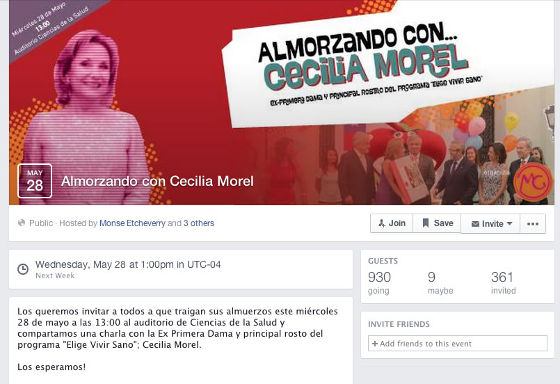 """""""Almorzando con Cecilia Morel"""", el evento real que originó al meme."""