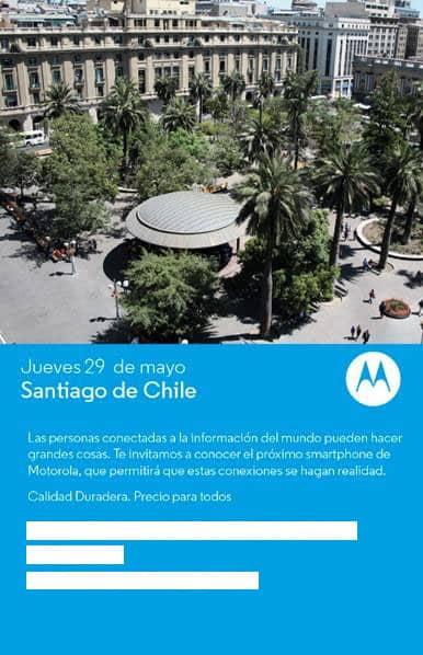 Invitación de prensa de la presentación del Moto E y Moto G 4G en Chile.