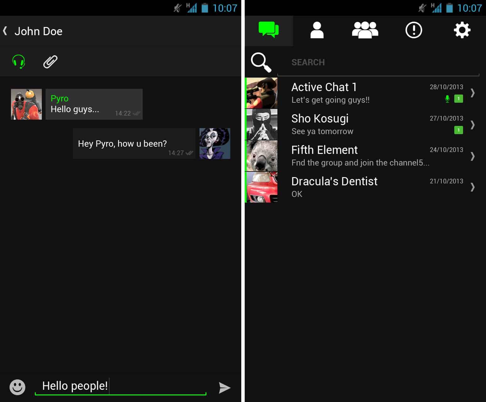 Chat en Android de RAZER COMMS.