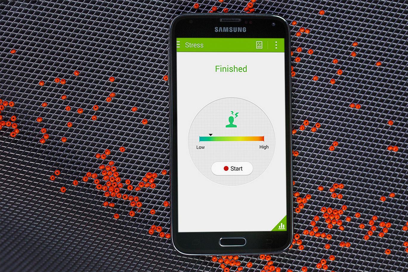 El Galaxy S5, através de S Health, incorporó a sus funciones la medición el estrés.