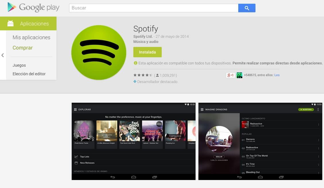 Spotify llama a instalar su aplicación desde las tiendas oficiales.