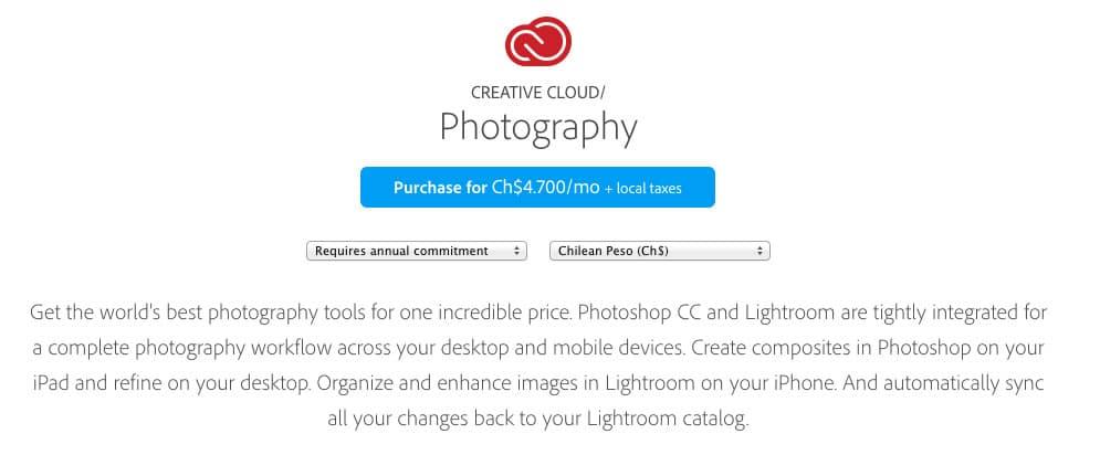 Adobe creó una Web para conocer el precio en moneda local de Photoshop CC y Lightroom 5.