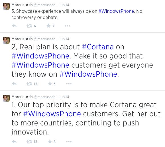 Algunos tweets de Marcus Ash sobre el futuro de Cortana.