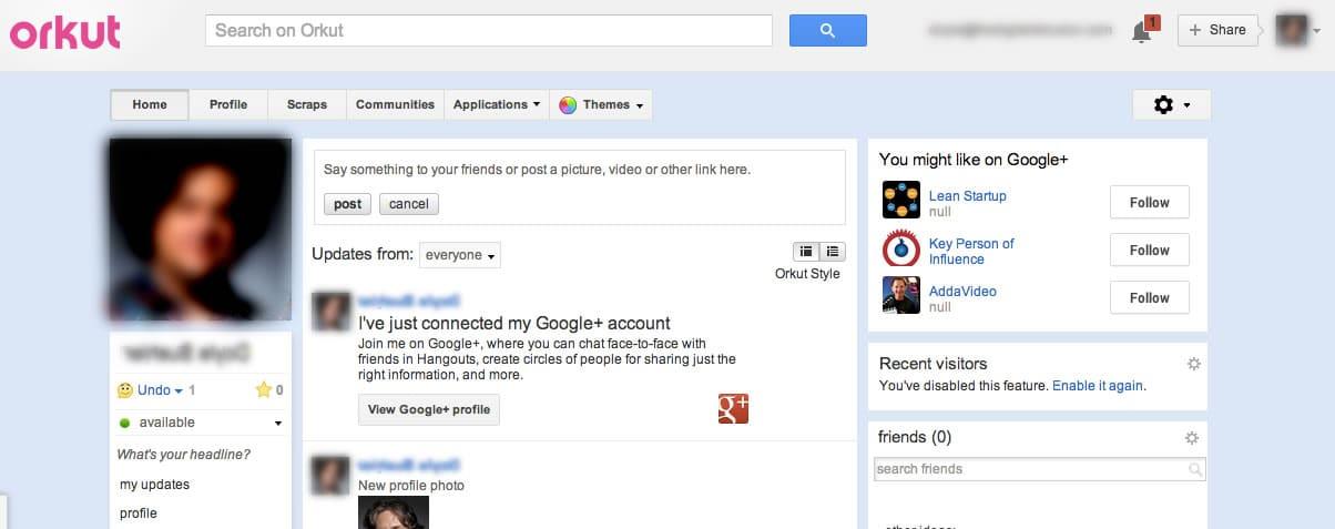 Así lucían los perfiles de Orkut en su implementación con Google+.
