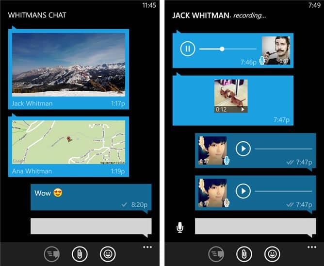 WhatsApp para Windows Phone incluye descargas automáticas de la multimedia.