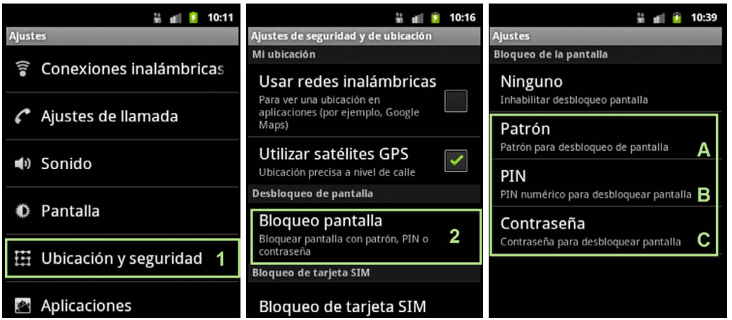 La configuración de un patrón, PIN o contraseña en un Android, es uno de los consejos mínimos de seguridad.