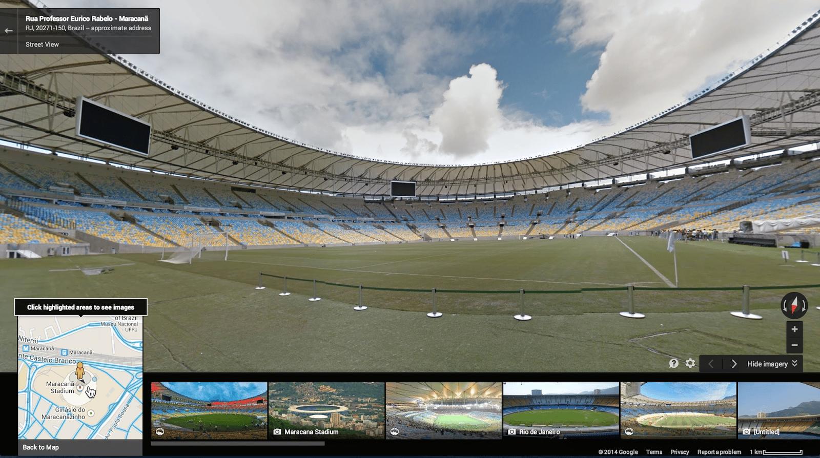 Google Maps incorporó a Street View los 12 estadios que serán sede del Mundial, entre esos el mítico Maracaná.