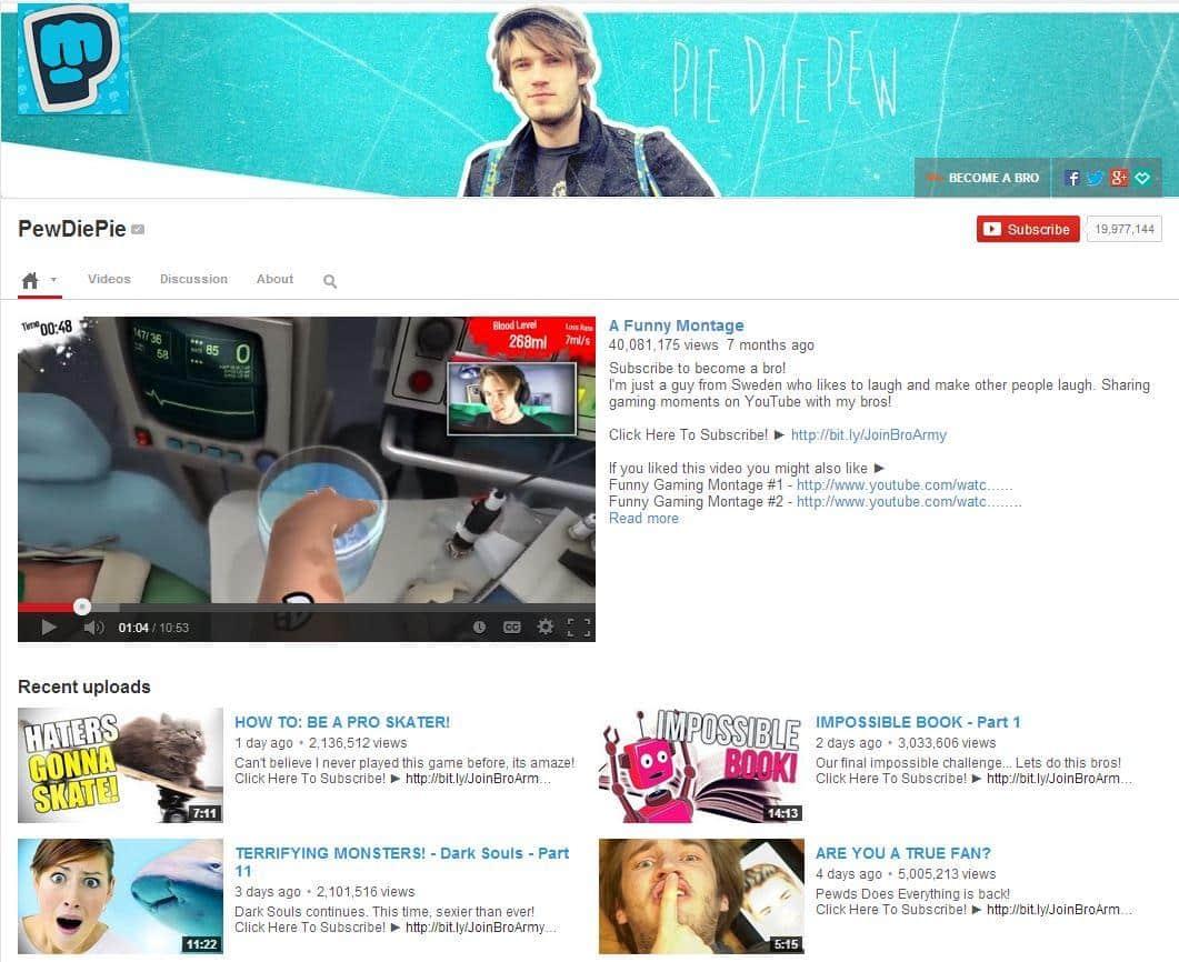 La cuenta del Youtuber PewDiePie consiguió generar más de cuatro millones de dólares a su creador.