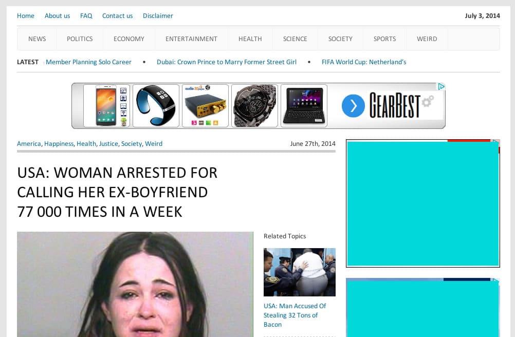 Así luce la falsa noticia en la Web de World News Daily Report.