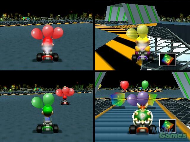 Aspiradoras robot: Batallas de globos en Mario Kart (64).