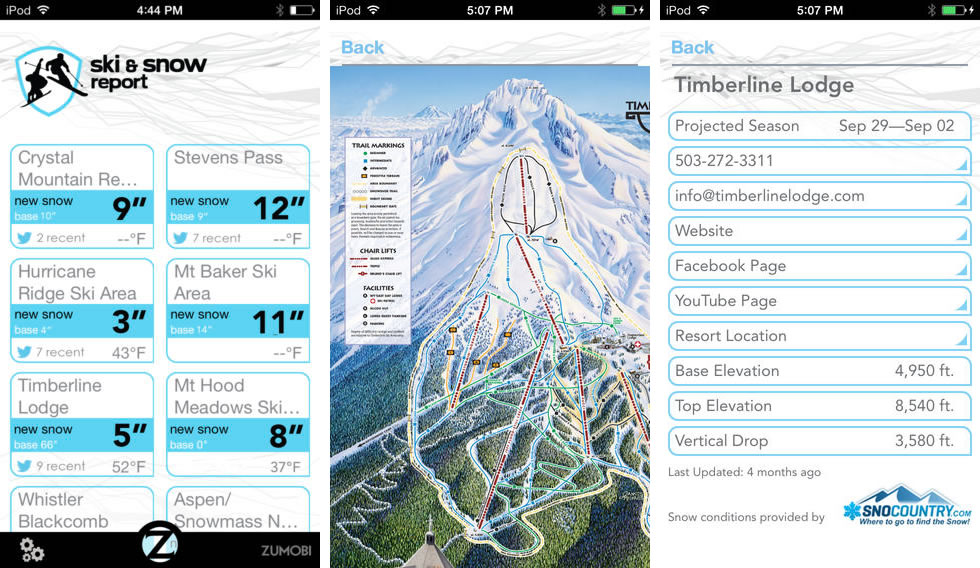 Ski and Snow Report IOS IPHONE OHMYGEEK
