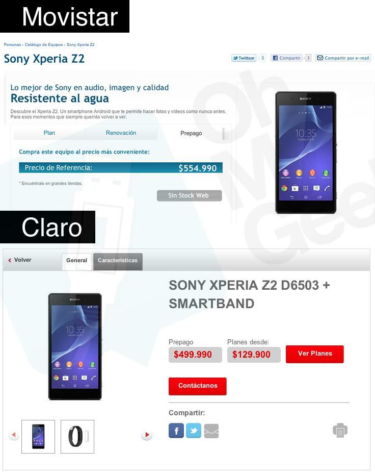 Xperia Z2 Smartband precios chile movistar claro ohmygeek