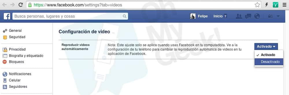 Desactivar los videos con auto-reproducción en Facebook.