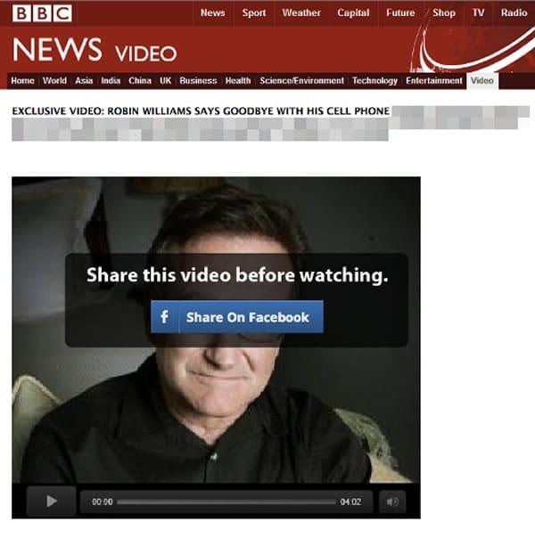 Así luce la falsa Web de la BBC que mostraría el supuesto clip de Robin Williams.