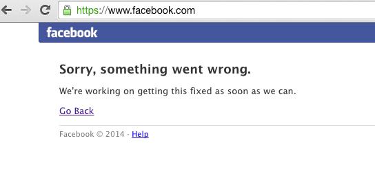 Mensaje de error en la caída de Facebook