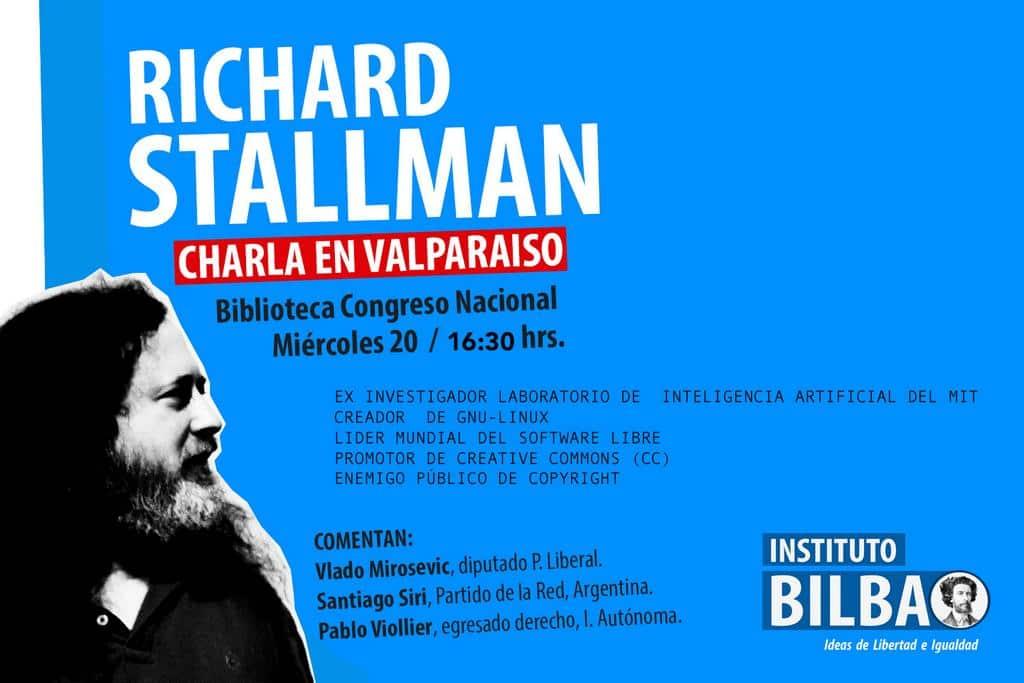 Afiche de la charla de Stallman en Valparaíso.