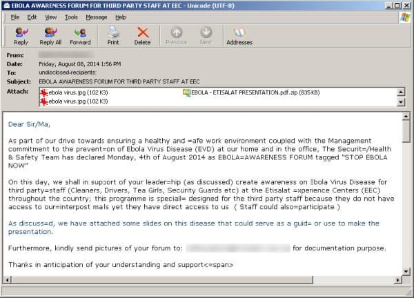 Falsos correos que relatan sobre el virus del Ébola, son utilizados como carnada.